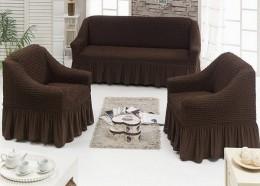 Чехлы для дивана (1) + кресло (2) BULSAN шоколадный