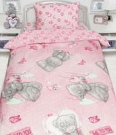 Детское постельное белье Mona Liza бязь 1,5-спальное 50х70 см Teddy С ПОДАРКОМ РОЗОВЫЙ