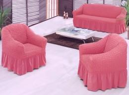 Чехлы для углового дивана (1 шт) + кресло (1 шт) Karbeltex темно-розовый