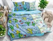 Постельное белье Svit New Line бязь ГОСТ 1,5-спальное 70х70 см арт.Веселые кактусы синий