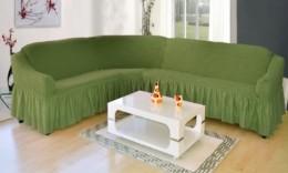 Чехол для углового дивана Karbeltex зеленый